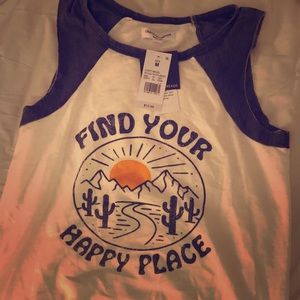 Find your happy place cut-off Tee, size M